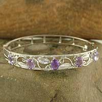 Amethyst bangle bracelet, 'Blossom' (India)