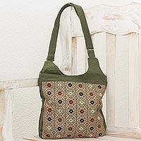 Cotton blend messenger bag,