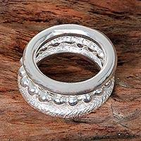 Sterling silver stacking rings, 'Beautifully Diverse' (set of 3) - 3 Sterling Silver Stacking Rings Balinese Artisan Jewelry