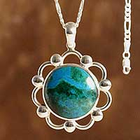 Chrysocolla pendant necklace, 'Soul of the Sea' - Floral Chrysocolla Pendant Necklace