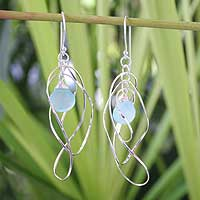 Chalcedony dangle earrings, 'Early Blue' - Chalcedony and Sterling Silver Dangle Earrings