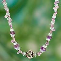 Aquamarine and amethyst beaded necklace, 'Island Dreams' - Aquamarine and Amethyst Beaded Strand Necklace