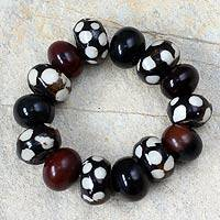 Bone and horn beaded bracelet,