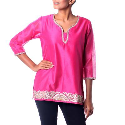 Cotton and silk blend tunic. 'Jaipuri Masala' - Elegant Bright Pink Tunic in a Cotton and Silk Blend