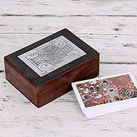 Wood with brass inlay playing cards box,