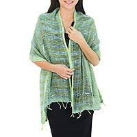 Cotton shawl, 'Breezy Blue and Green' - Thai Blue and Green Cotton Shawl