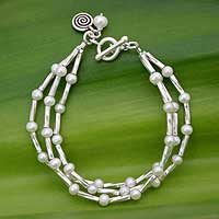 Cultured pearl beaded bracelet, 'White Sea' - Silver and Cultured Pearl Beaded Three Strand Bracelet