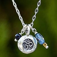 Kyanite pendant necklace, 'Sacred Mantra' (Thailand)