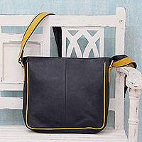 Leather shoulder bag, 'Yellow Caress' - Handcrafted Navy Blue Leather Yellow Trim Shoulder Bag