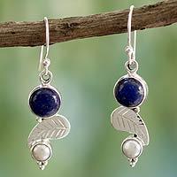 Cultured pearl and lapis lazuli dangle earrings,
