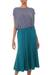 Modal skirt, 'Green Orchid' - Flared Pull On Skirt in Green Modal from Indonesia thumbail