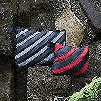 Cotton and recycled bicycle tire cosmetic bags,