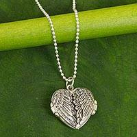 Sterling silver locket necklace, 'Heart Wings' (Thailand)