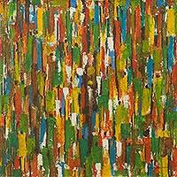 'Twenty, Thirty, Fifty' - Abstract Expressionist Painting of Large Crowd in Market