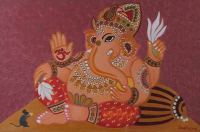 'Compassionate Ganesha II' - Original Oil Painting of Ganesha on Canvas from India