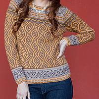 100% alpaca sweater, 'Hypnotic Honeycomb' - Women's Alpaca Sweater in Orange and Brown from Peru