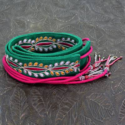 Beaded cotton tie belt, 'Emerald Glamour' - Embroidered Cotton Tie Belt  with Hand Beaded Tassels