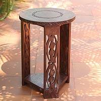 Wood accent table, 'I Fear Only God' - Wood accent table