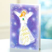Holiday greeting cards, 'Lavender Angel' (set of 12) - Christmas Angel 12 UNICEF Sparkling Greeting Cards Set