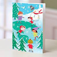 Holiday greeting cards, 'Skating Around the World' (set of 12) - Children and Snowman UNICEF Greeting Cards (Set of 12)