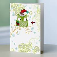 Holiday greeting cards, 'Happy Owlidays!' (set of 12) - Whimsical UNICEF Holiday Greeting Cards (set of 12)