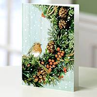 Holiday greeting cards, 'Bastin Wreath' (set of 12) - UNICEF Bird and Wreath Holiday Greeting Cards (Set of 12)