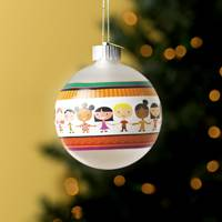 UNICEF Blown Glass Ornament, 'Circle of Friends' - Blown Glass Ornament with Battery Operated LED Light