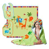 UNICEF Cotton Blanket and Bibs, 'Safari' (set of 3) - Bright Colorful Animals Add a Touch of Adventure
