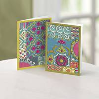UNICEF Greeting Cards, 'Exotic Textile Collection' (set of 12) - 12 Blank UNICEF Greeting Cards 2 Different Patterns