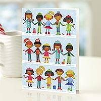 Holiday greeting cards, 'Hand-in-Hand' (set of 12) - UNICEF Holiday Cards Boxed Set