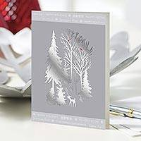 Holiday greeting cards, 'Silver Winter Scene' (set of 12) - UNICEF Holiday Cards Boxed Set