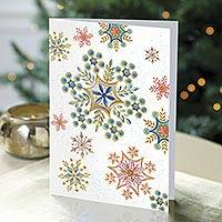 Holiday greeting cards, 'Multi-color Snowflakes' (set of 20) - UNICEF Holiday Cards Boxed Set