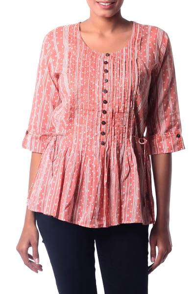 Cotton blouse, 'Dancing Bubbles in Peach' - Hand Crafted 100% Cotton Blouse in Peach and White
