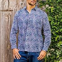 Men's cotton shirt, 'Zigzag Waves' - Cotton Hand Stamped Blue and White Men's Shirt