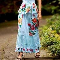 Cotton peasant skirt, 'Rose Elegance' - Light Blue Floral Cotton Skirt with Ruffles