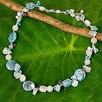Pearl and aquamarine necklace,