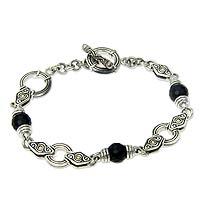 Gold accent onyx link bracelet,
