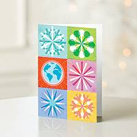 Holiday greeting cards, 'Snowflakes and Globe' (set of 12) - UNICEF Holiday Cards Boxed Set