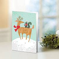 Holiday greeting cards, 'Reindeer and Squirrel' (set of 12) - UNICEF Holiday Cards Boxed Set