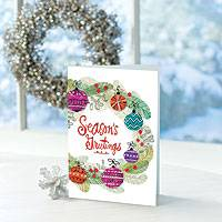 Holiday greeting cards, 'Bright Wreath' (set of 12) - UNICEF Holiday Cards Boxed Set