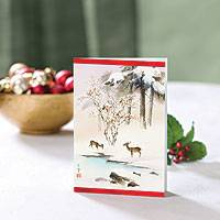 Holiday greeting cards, 'Asian Deer' (set of 12) - UNICEF Holiday Cards Boxed Set