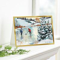 Holiday greeting cards, 'Hockey Players' (set of 12) - UNICEF Holiday Cards Boxed Set