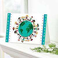 Holiday greeting cards, 'Kids and Globe' (set of 20) - UNICEF Holiday Cards Boxed Set