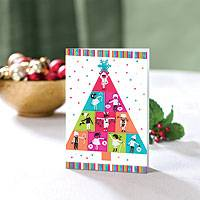 Holiday greeting cards, 'Bright Kids' Tree' (set of 20) - UNICEF Holiday Cards Boxed Set