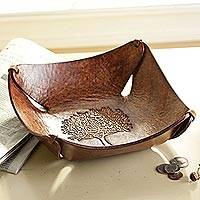 Leather catchall tray, 'Tree of Life' - Artisan Hand-tooled Brown Leather Catchall Bowl