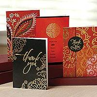 Greeting cards, 'Exotic Thank You' (set of 12) - Thank You UNICEF Greeting Cards Blank Assorted (set of 12)