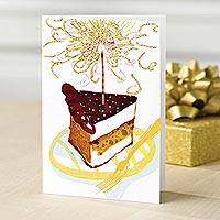 Greeting cards, 'Cake and Sparklers' (set of 12) - UNICEF Birthday Cake Greeting Cards Blank (set of 12)