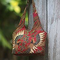 Beaded cotton batik shoulder bag, 'Red Sawunggaling' - Red Cotton Batik Beaded Shoulder Bag from Bali