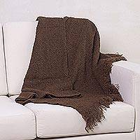 Alpaca blend throw, 'Chocolate Boucle' - Handwoven Brown Boucle Alpaca Blend Throw with Fringe