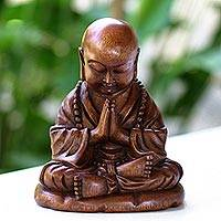 Wood sculpture, 'Little Buddha Praying' - Unique Buddhism Wood Sculpture
